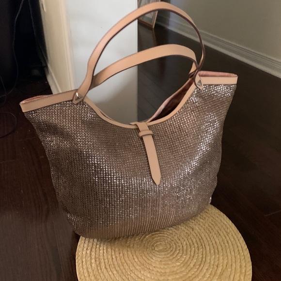 Stella & Dot Riviera Metallic Tote Shoulder Bag